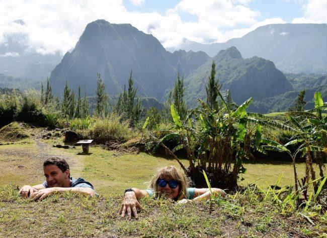 Sue and Tino climb a lava face at Salazie