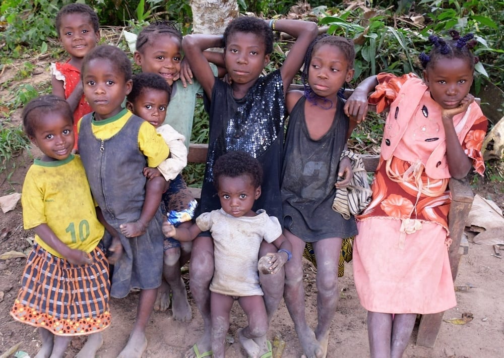 A group of village children pose at Odzala, Congo