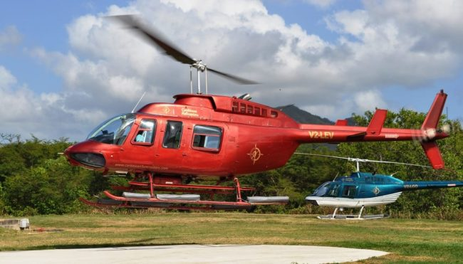 The Monserrat helicopter lands in Antigua