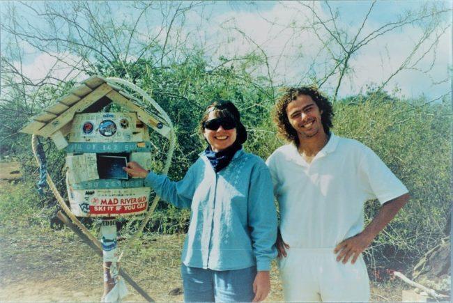 Sue and Antonio at the Floreana Beach Postbox