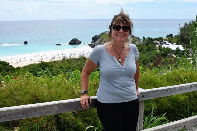 Sue on the cliff walk above pristine beaches in Bermuda