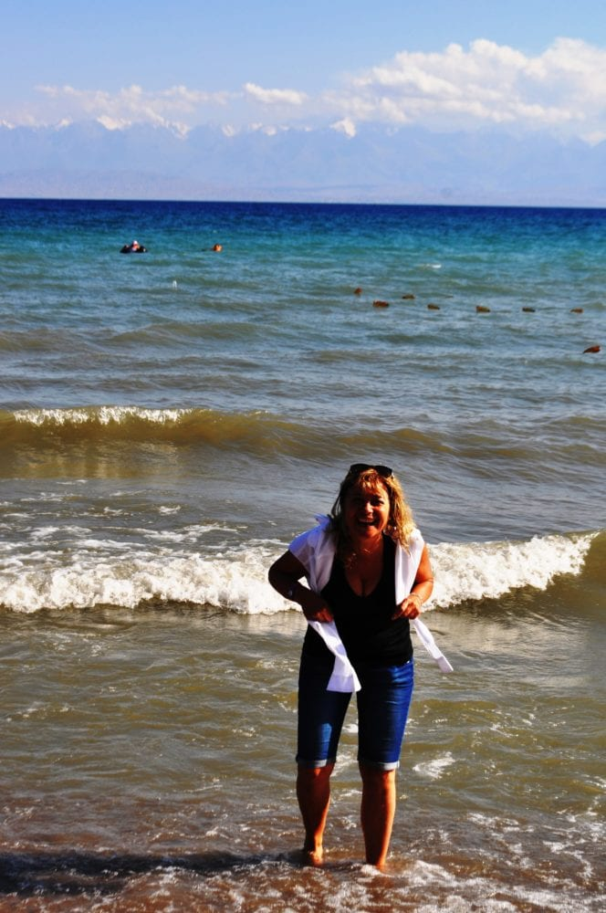 Sue splashing at the edges of Issyk kul
