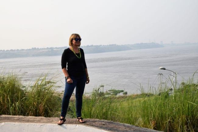 Sue on the banks of the Congo River near Kinshasa, DRC