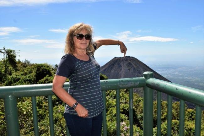 Sue in front of the volcano at at El Boqueron El Salvador