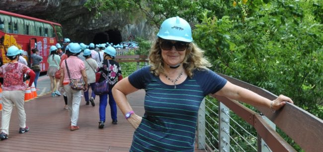 Sue with a protective hat on at the entrance to Taroko Gorge