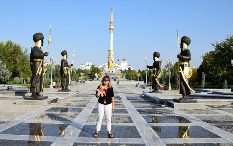 Sue at the Independence Monument Ashgabat