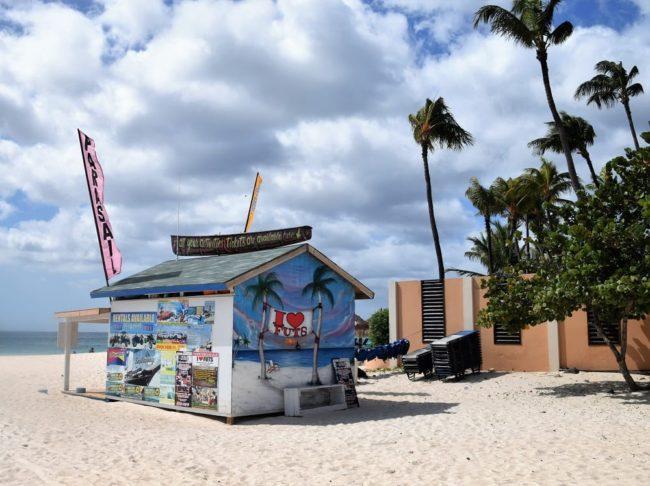 A gaily painted beach stand on Divi Beach Aruba