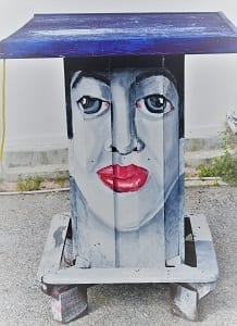 A painted sculpture of a woman's head a tWillemstad