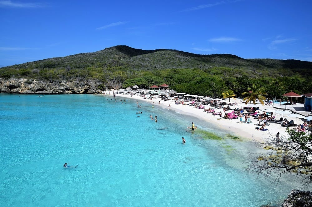 The crowded beach at Grote Knip, Curacao