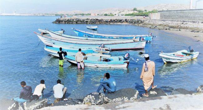 Blue fishing boats in the sea near Sable Blanc Djibouti