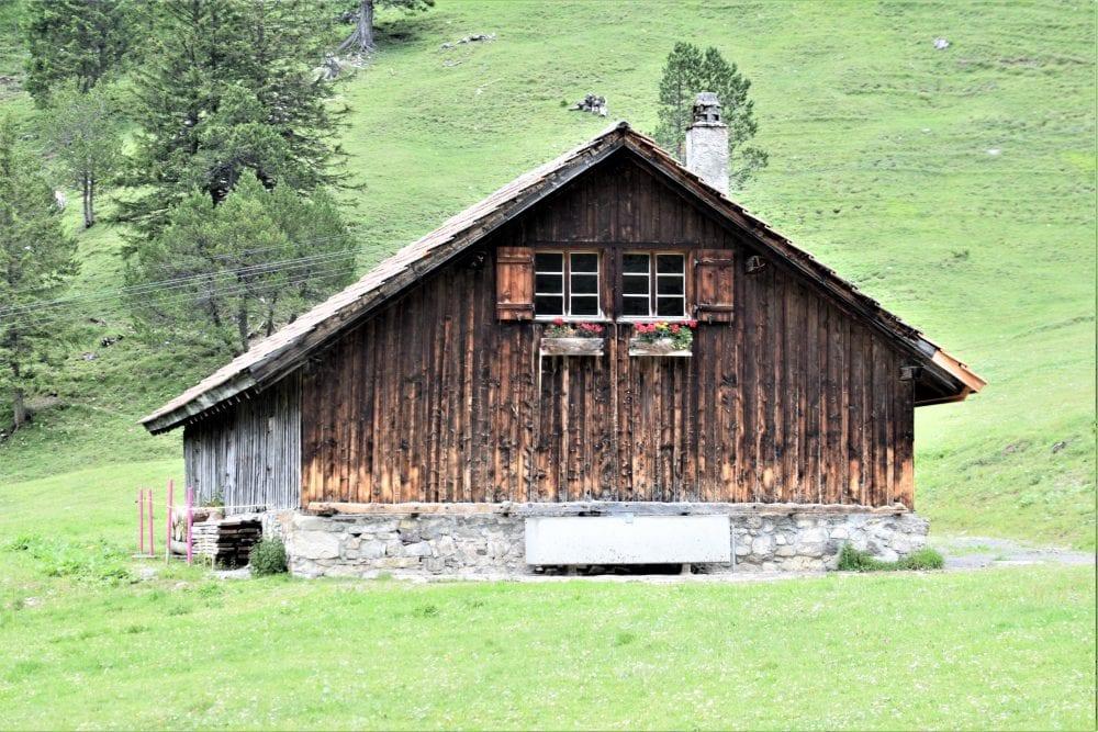Lone timber chalet with window boxes at Malbun Liechtenstein