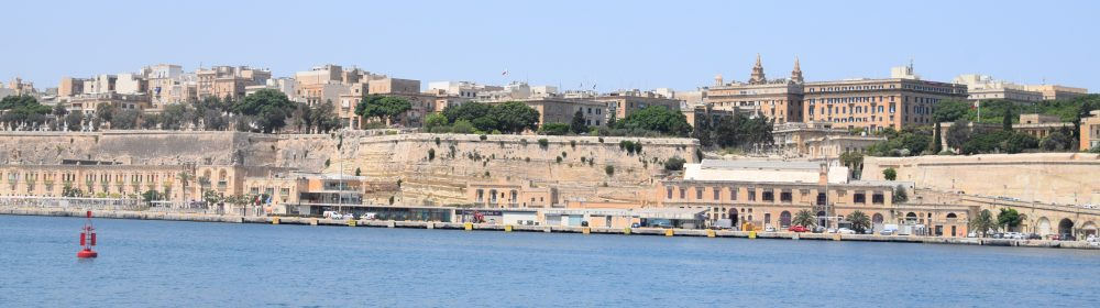 A view of the bastions of Valletta seen from the water