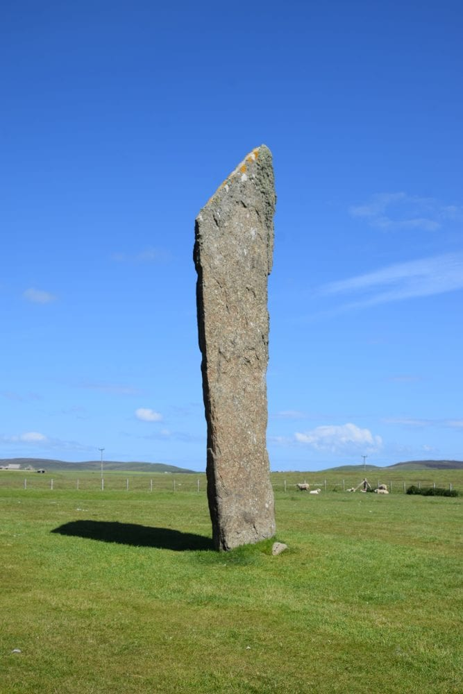 A close up of one the Standing Stones at Stenness, Scotland