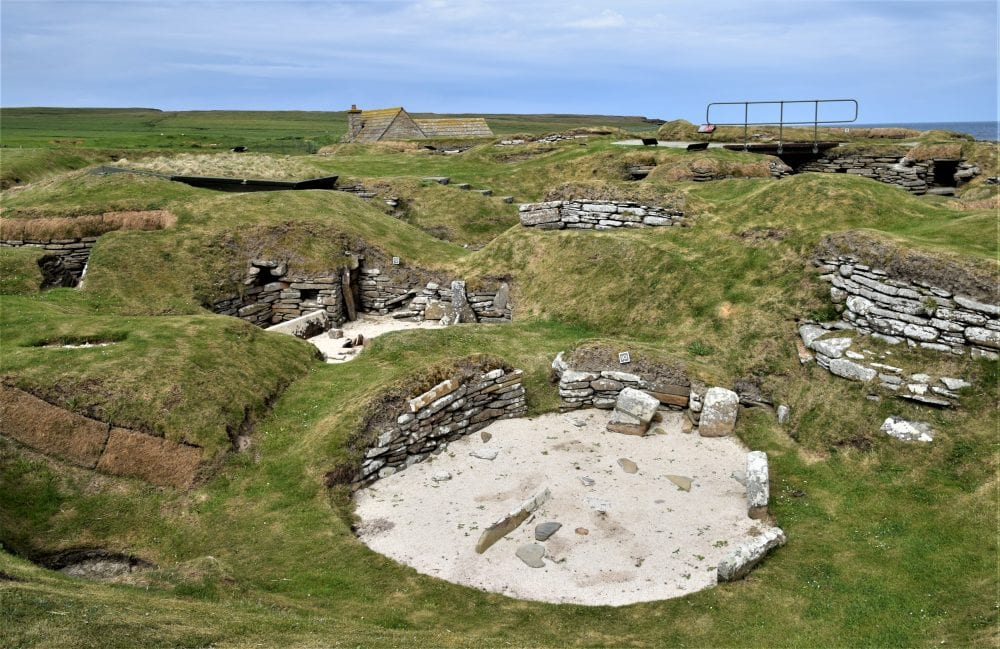 A panoramic view of excavations at Skara Brae, Orkney
