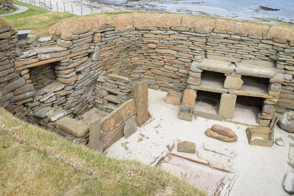 Stone furniture in a room at Skara Brae, Orkney