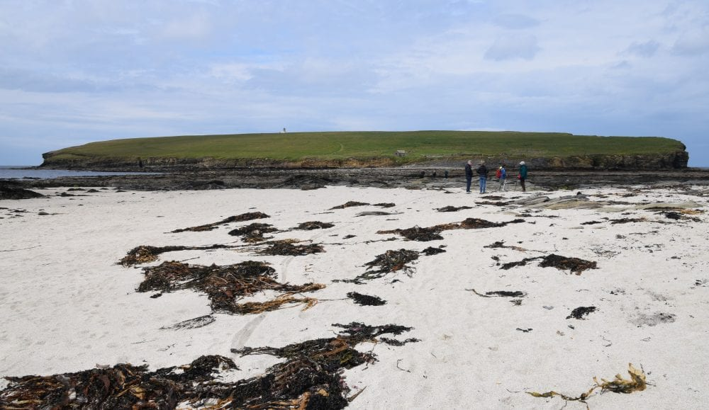 The sandy causeway leading to the Brough of Birsay