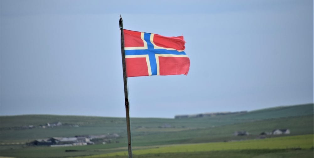 The Orkney flag fluttering in the wind