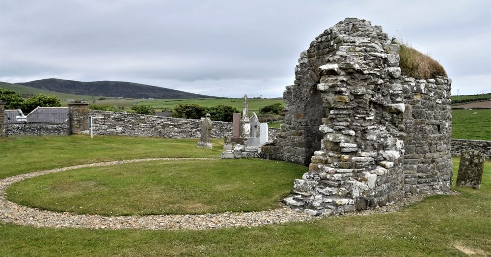 The ruins of the round kirk at Orphir, Orkney