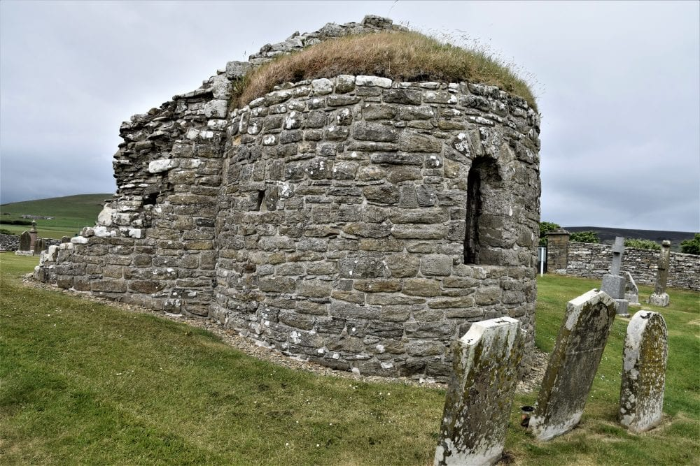 The end view of the round kirk at Orphir, Orkney