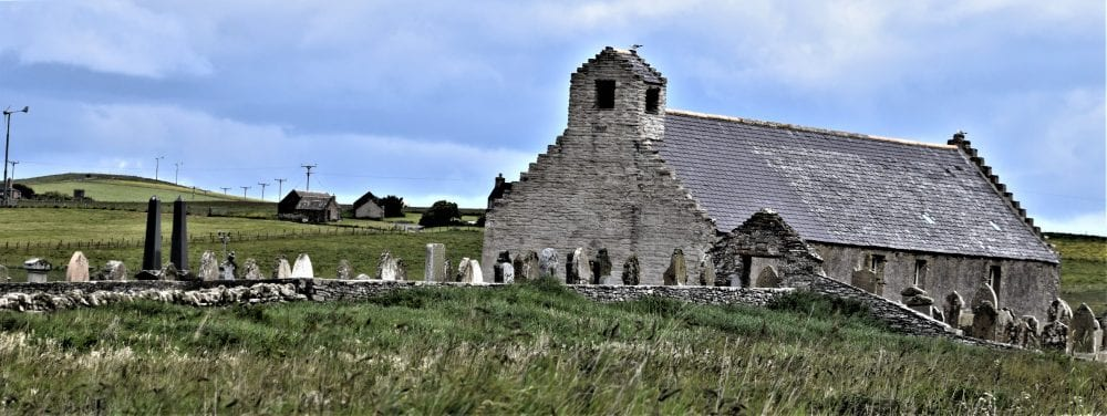 The stone church at Burwick, Southernmost Orkney