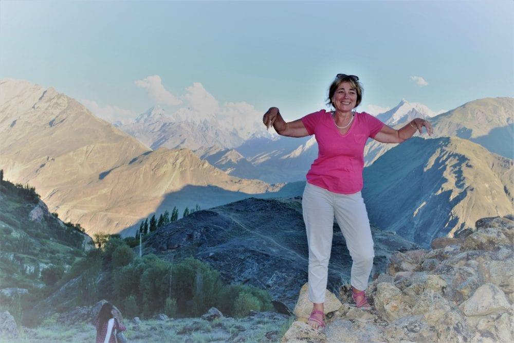 Sue at the Rakaposhi viewpoint in the Hunza Valley Pakistan
