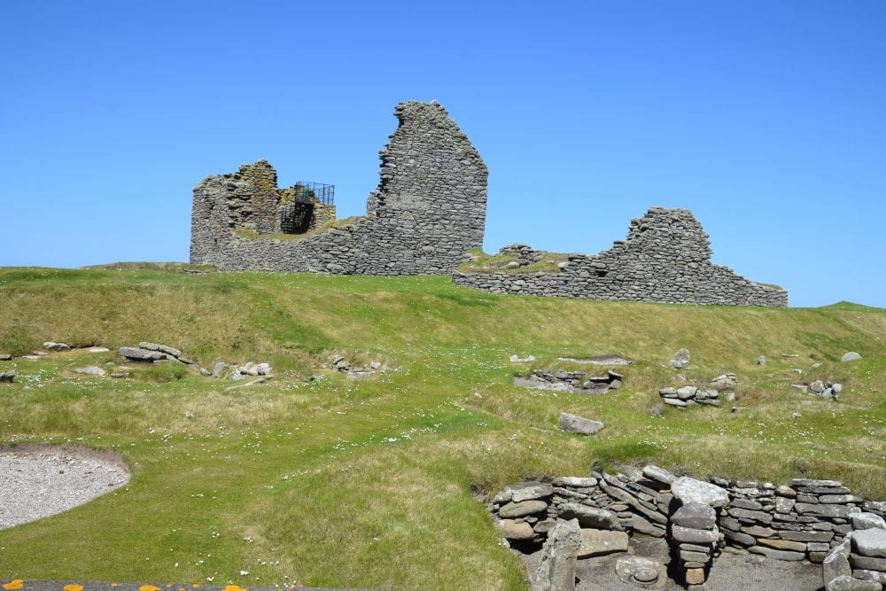 Ruins - manor house at Jarlshof prehistoric site, Shetland