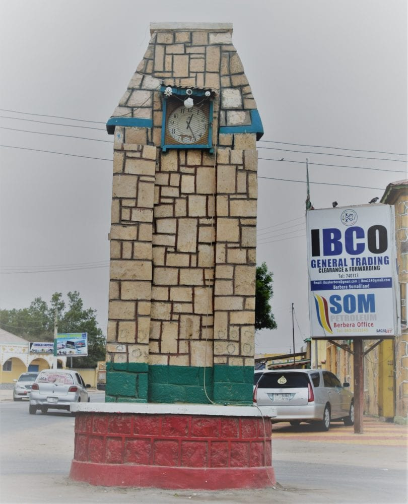 A wall encased clock tower at Berbera