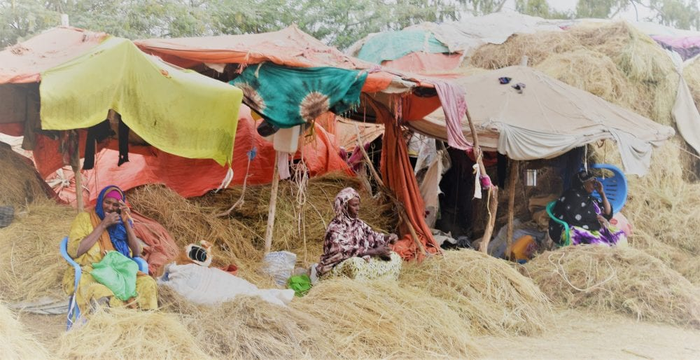 Women sitting in straw at the market