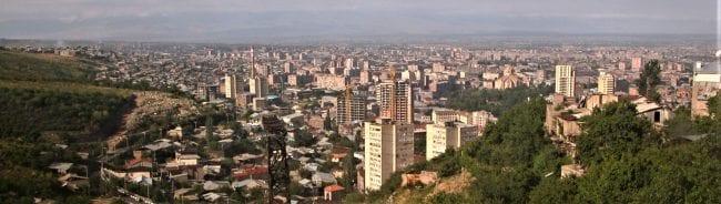 A panoramic view of Yerevan, the pink city, Armenia