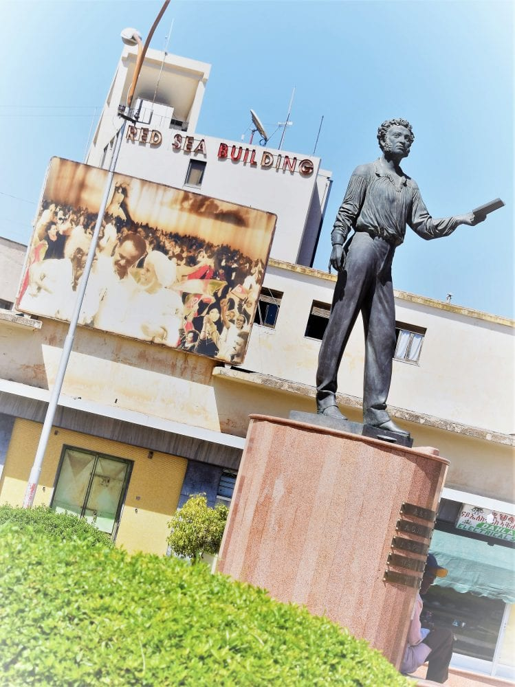 A statue in a square in Massawa taken at an angle Eritrea