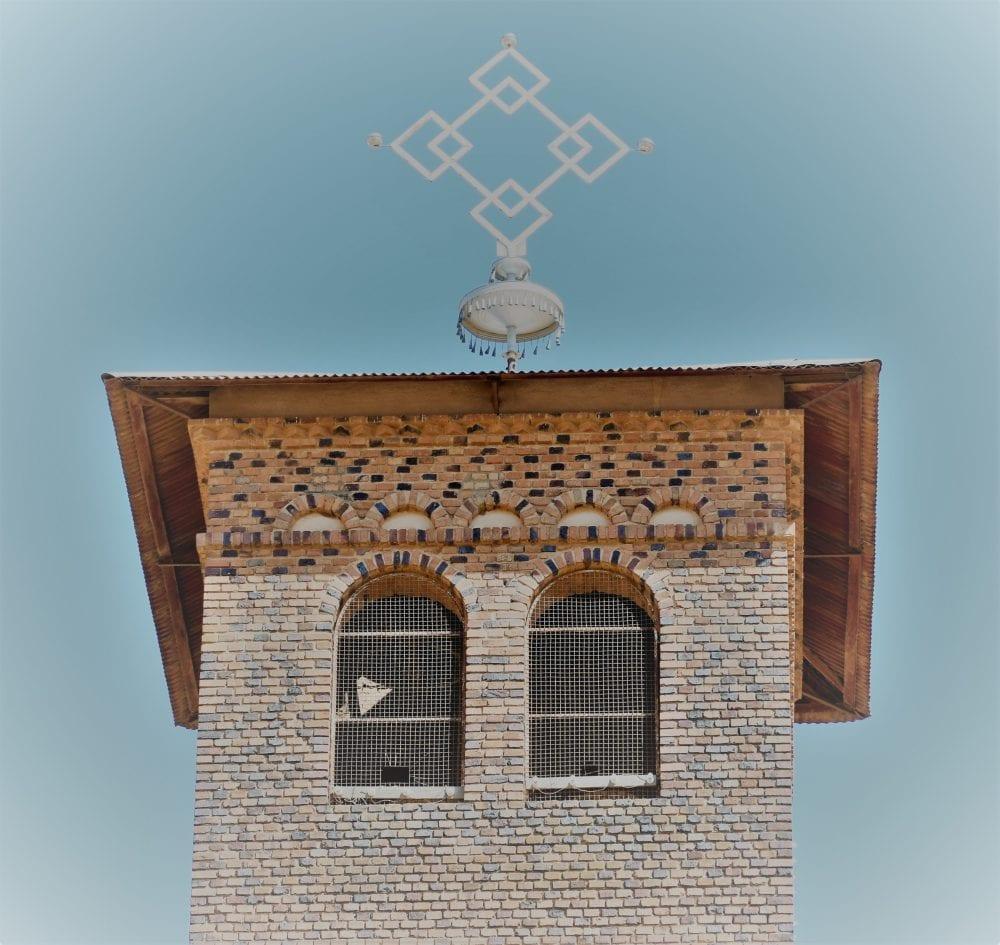 A square brick church tower in Eritrea