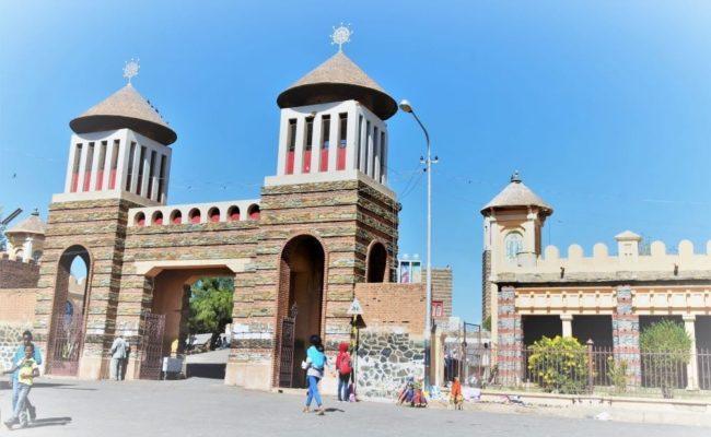 The ornate entrance to a church in Asmara