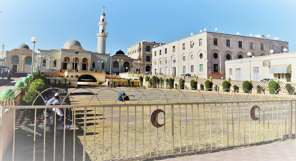 Art deco style mosque buildings with porthole windows