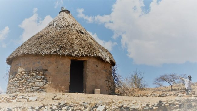 A thatched toilet hut in Eritrea