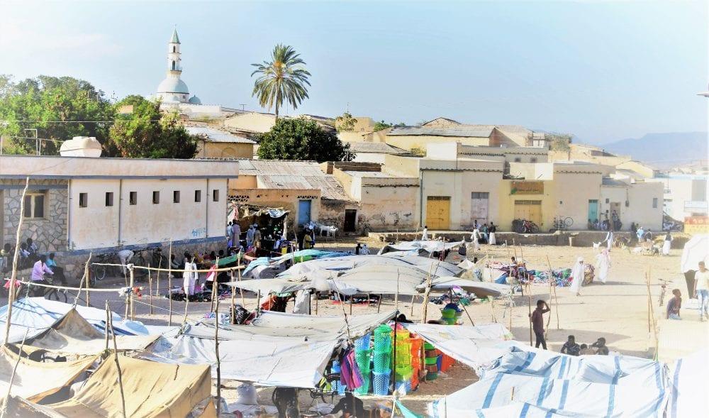 Village houses on the edge of the market at Keren Eritrea