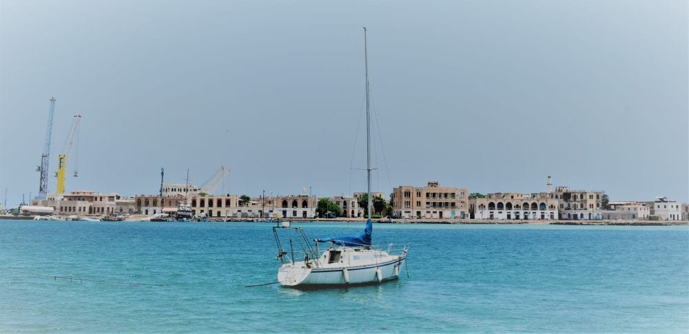 A yacht in the middle of the harbour at Massawa