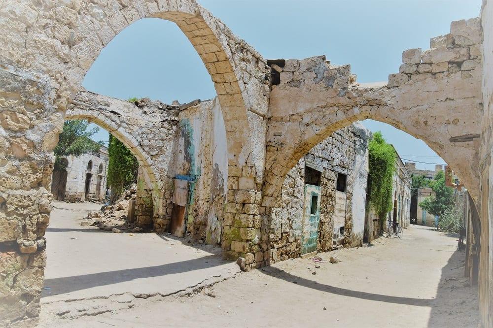 Three stone arches in ruins at Massawa Eritrea