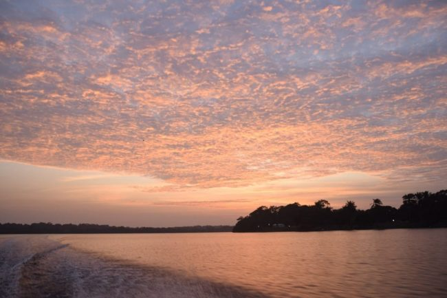 Sunset over the estuary at Loango