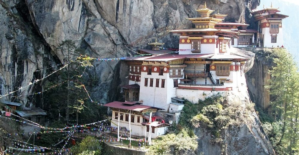 Tiger's Nest Monastery perched on the side of a cliff in Bhutan