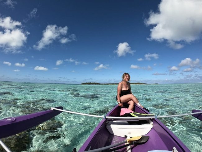 Sue on her canoe in the southern atoll of the Cocos Islands