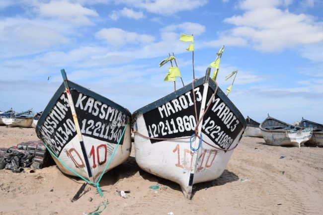 Boats on the waterside at Dahkla