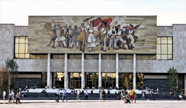 Fresco over the entrance of the National History Museum, Skanderberg Square, Tirana, Albania