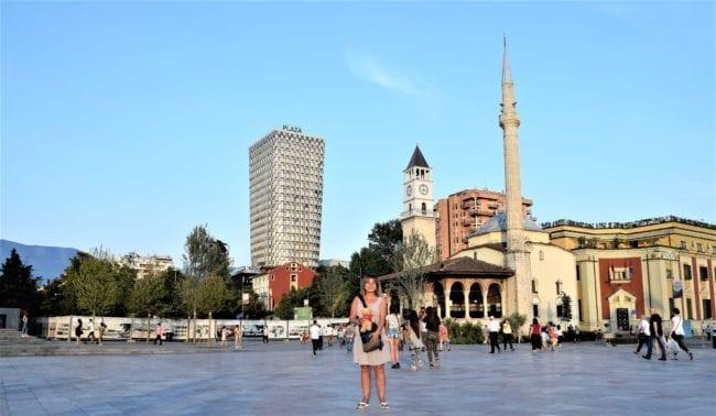 Sue in Skanderbeg Square in Tirana