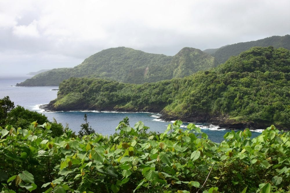 A view across the vegetation cloaked headlands of Pago Pago inlet