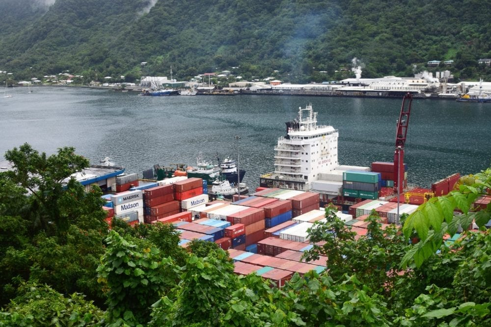 Containers stacked by a container ship in Pago Pago, the capital of American Samoa harbour