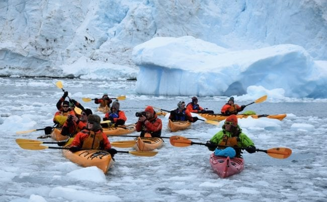 Eight orange kayakers paddling through the ice bergs at Courville Island