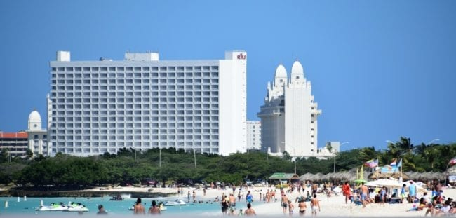 Eagle beach backed by tall hotels
