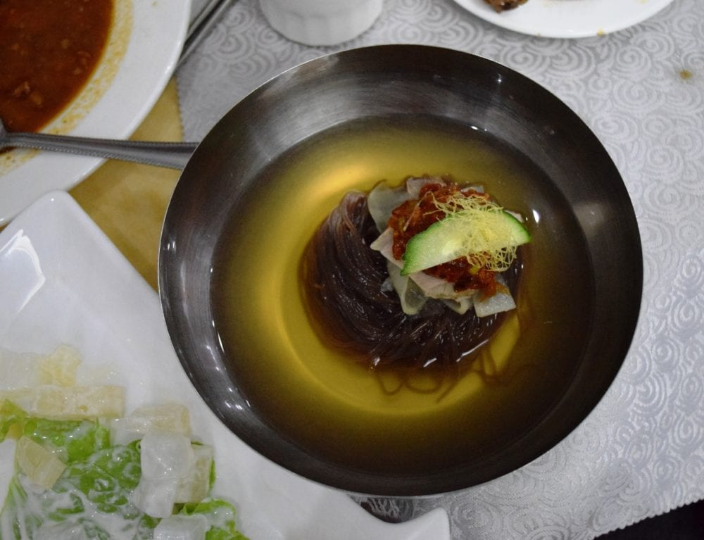 Decorated noodle soup in North Korea