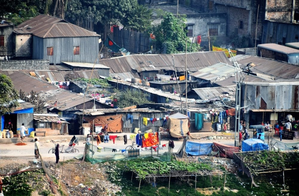 Tin roofed slum dwellings in Dhaka