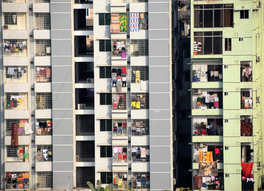 Modern flats in Dhaka, washing hanging on all the balconies